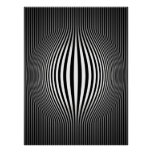 Op Art Bulging Vertical Stripes Black and White 2 Poster