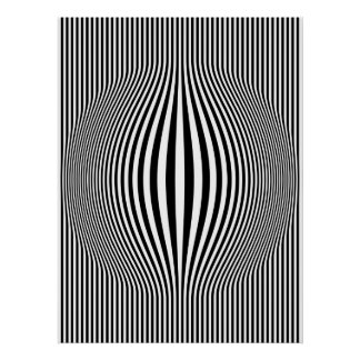 Op Art Bulging Vertical Stripes Black and White Poster