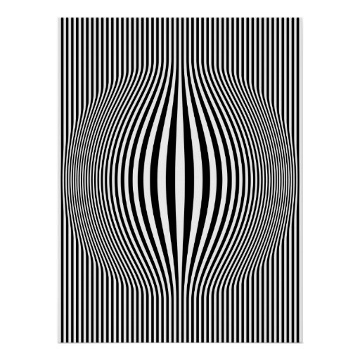 Op Art Bulging Vertical Stripes Black and White Posters