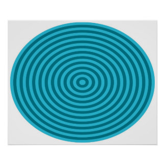 Op Art Bullseye Blue Pale Blue Poster