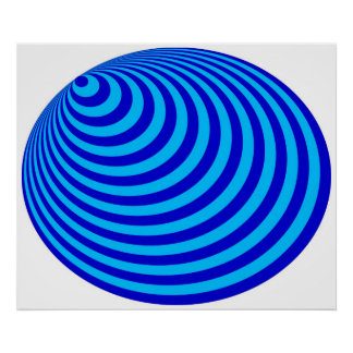Op Art Bullseye Excentric Blue Pale Blue Poster