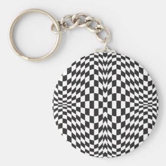 Op Art Checks Keychain