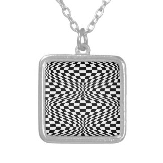Op Art Checks Silver Plated Necklace