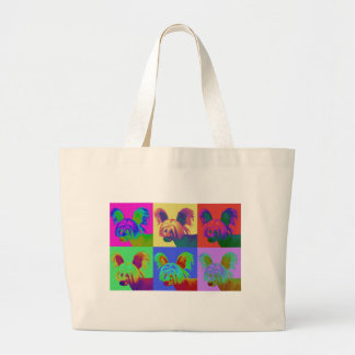 Op Art - Chinese Crested - Jasper Large Tote Bag