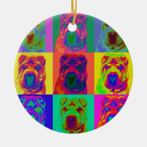Op Art - Chinese Shar Pei Double-Sided Ceramic Round Christmas Ornament