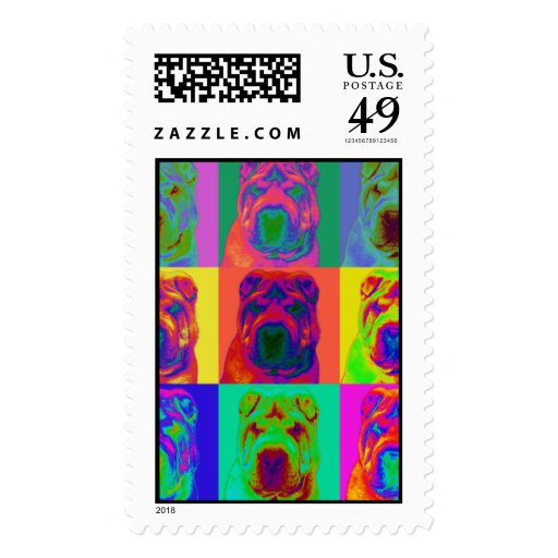 Op Art - Chinese Shar Pei Postage Stamp