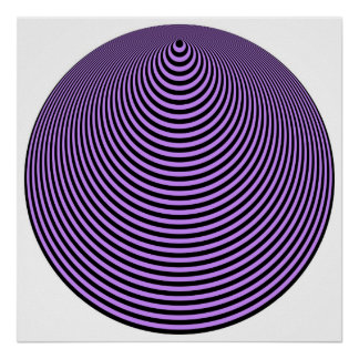 Op Art Concentric Circles Violet Over Black Posters