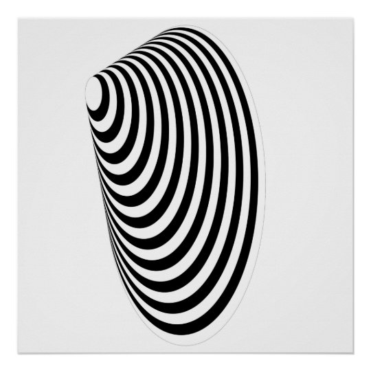 Op Art Concentric Egg Black and White Displaced 2 Poster