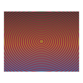 Op Art Concentric Ellipses Red And Yellow Print