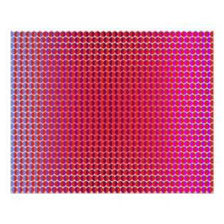Op Art Facing Each Other Red Fuchsia Violet Poster