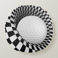 Op Art Golf Ball Round Pillow