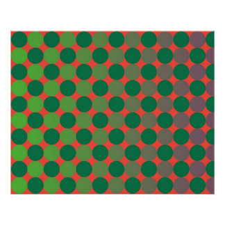 Op Art Gradient Circles Red And Green Poster