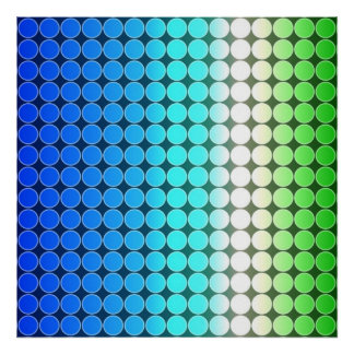 Op Art Gradient Polka Dots Blue Green White Posters