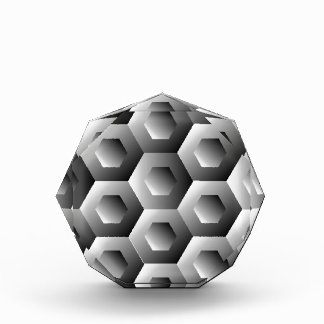 Op Art Hexagon in white and grey colors Award