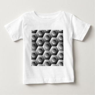 Op Art Hexagon in white and grey colors Baby T-Shirt