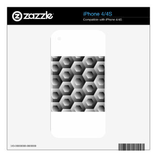 Op Art Hexagon in white and grey colors Skins For The iPhone 4
