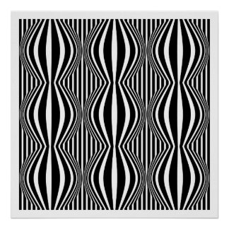 Op Art Lines and Spheres 02 - Black and White Poster