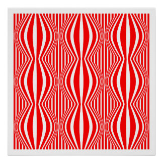 Op Art Lines and Spheres 02 - Red and White Poster
