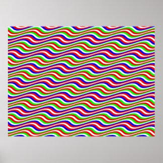 Op Art Multicolor Horizontal Sine Stripes Posters