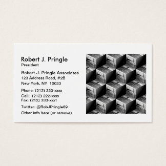 Op Art NYC Skyline BW 3D Cubes #1 Business Card