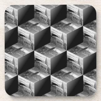 Op Art NYC Skyline BW 3D Cubes 1 Drink Coaster