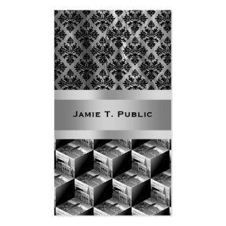 Op Art NYC Skyline BW 3D Cubes #1 Double-Sided Standard Business Cards (Pack Of 100)