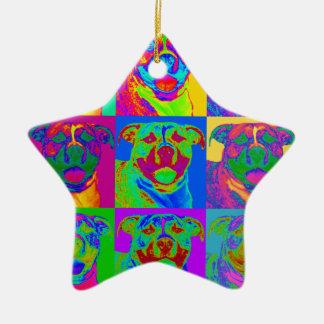 Op Art Pitbull Ceramic Ornament