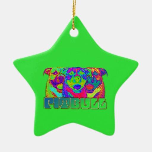 Op Art Pitbull Christmas Ornaments