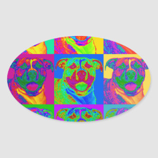 Op Art Pitbull Oval Sticker