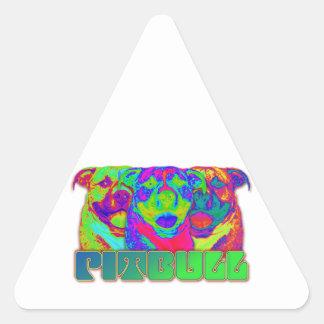 Op Art Pitbull Triangle Sticker