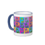 Op Art - Siberian Husky Ringer Coffee Mug