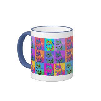Op Art - Siberian Husky Ringer Mug