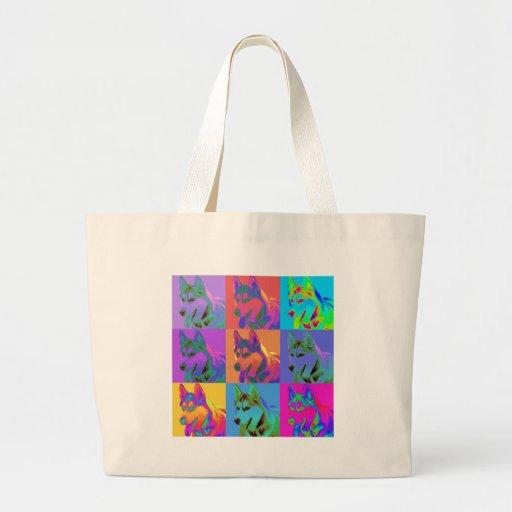 Op Art - Siberian Husky Tote Bags
