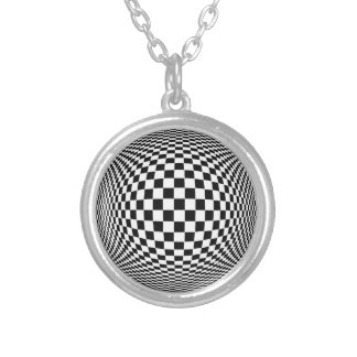 Op Art Silver Plated Necklace