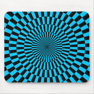 Op Art - Sky Blue and Black Mouse Pad