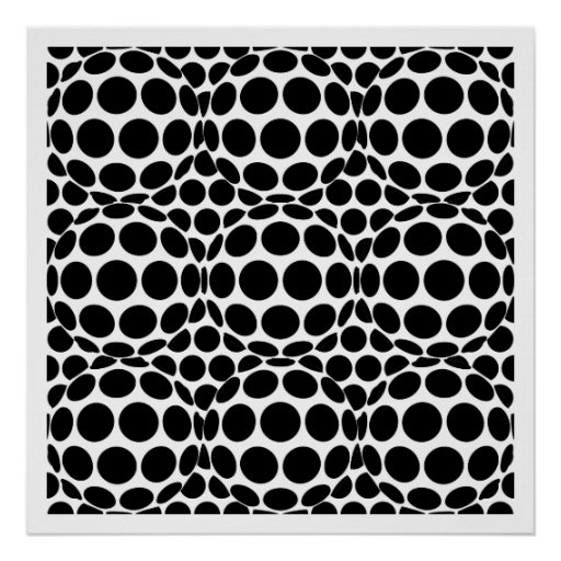 Op Art Spots and Spheres - Black and White Poster