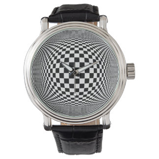 Op Art Time Bender Wrist Watches