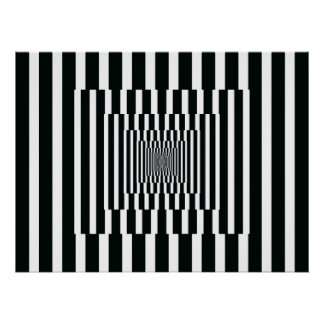 Op Art Vertical Reflections Black and White Print