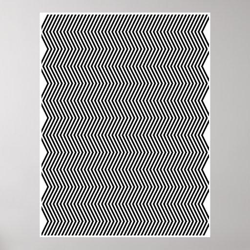 Op Art Vertical Zig Zag Two Poster