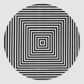 Op Art Visual Black and White Squares Classic Round Sticker