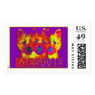 Op Art - West Highland Terrier Postage