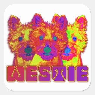 Op Art - West Highland Terrier Square Sticker