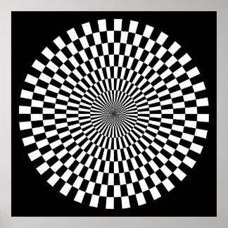 Op Art Wheel - Black and White on Black Poster