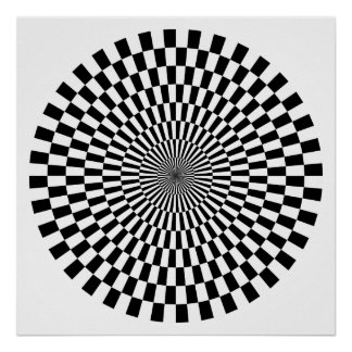 Op Art Wheel - Black and White Poster