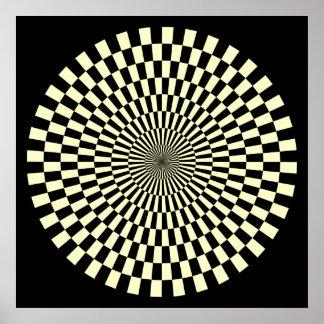 Op Art Wheel - Cream and Black Poster