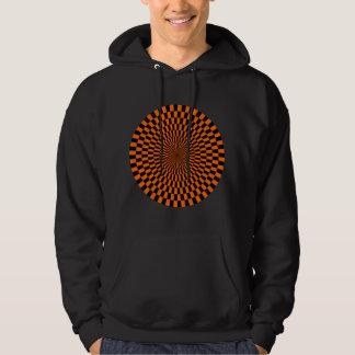 Op Art Wheel - Orange and Black Hoodie