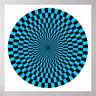 Op Art Wheel - Sky Blue and Black Poster