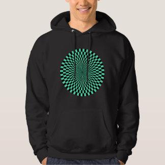 Op Art Wheel - Turquoise and Black Hoodie