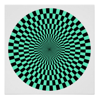 Op Art Wheel - Turquoise and Black Poster
