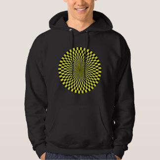 Op Art Wheel - Yellow and Black Hoodie
